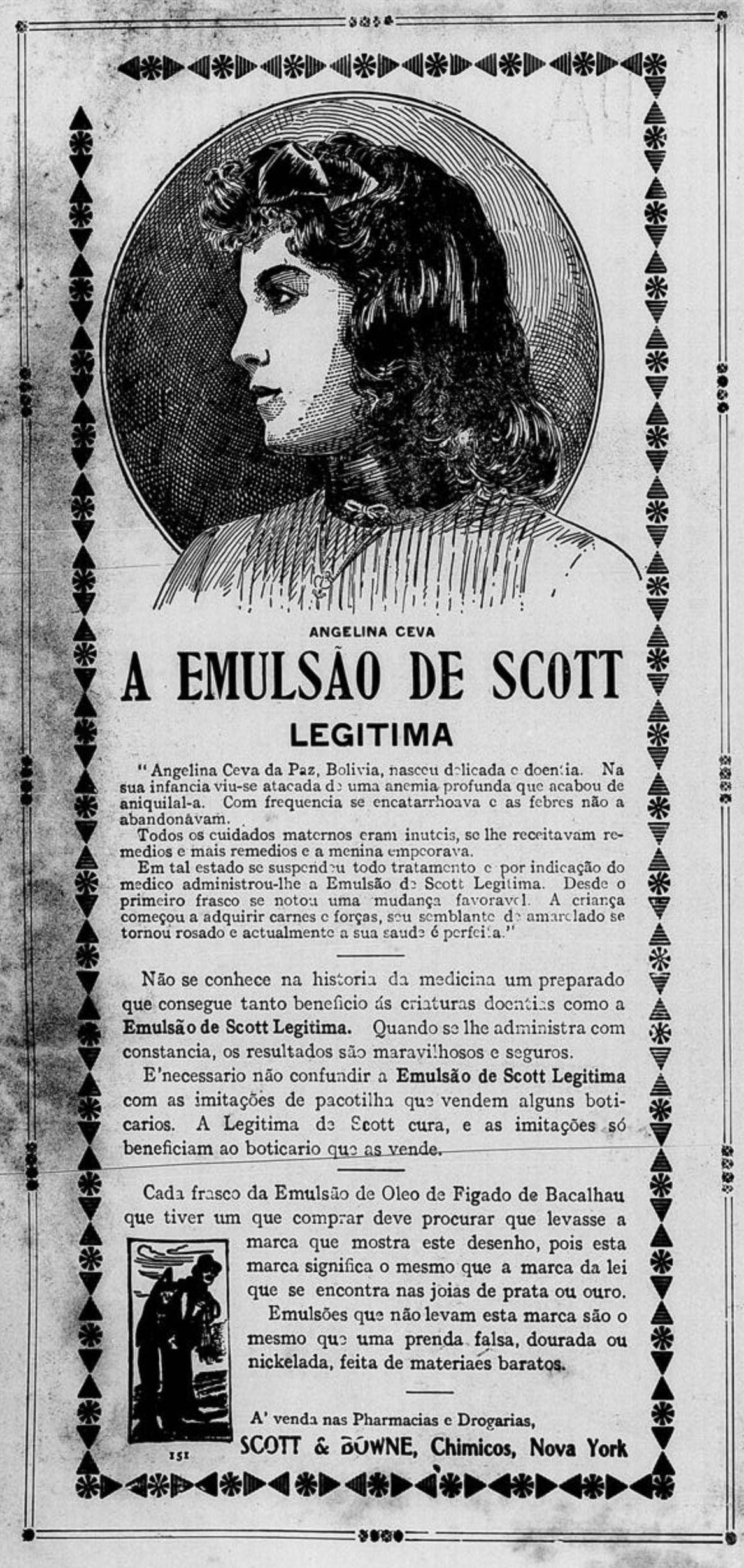Propaganda antiga do Emulsão de Scott veiculada em 1907