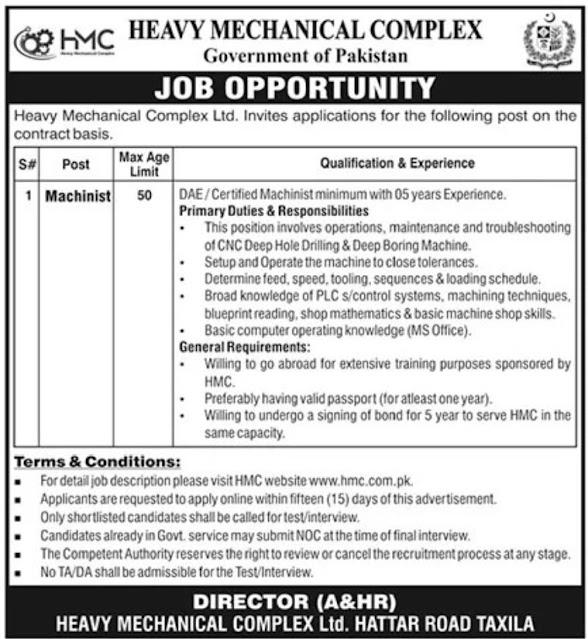 Govt Jobs Rawalpindi Heavy Mechanical Complex 2021