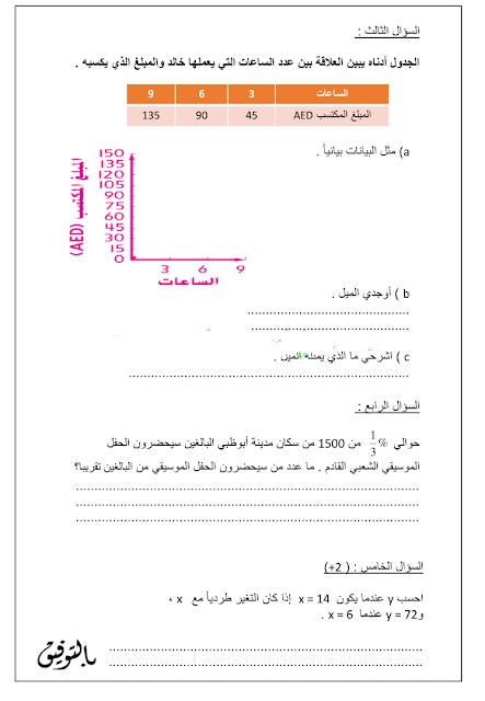 إختبار الرياضيات للصف السابع الفصل الثاني