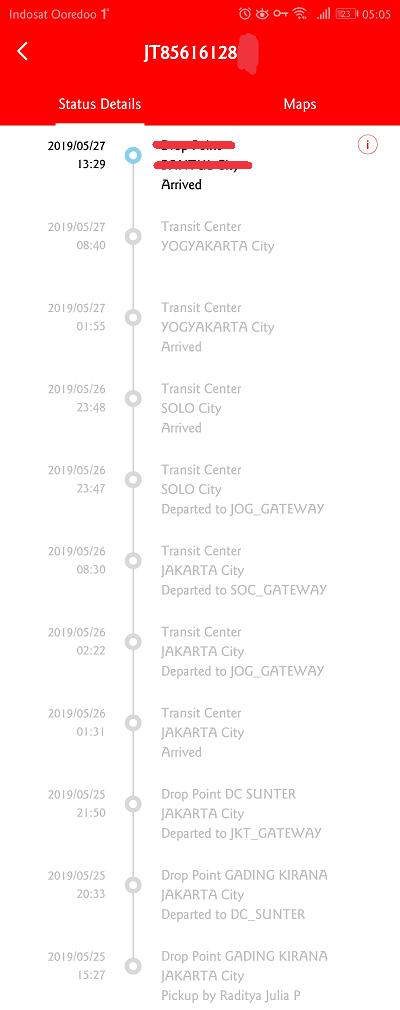 detil pengiriman paket yang dilacak melalui aplikasi lebih lengkap