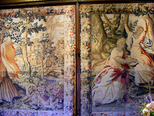 Real tapestry (right) and photograph hung while real tapestry in conservation (left). Chateau of Chenonceau. Indre et Loire. France. Photo by Loire Valley Time Travel.