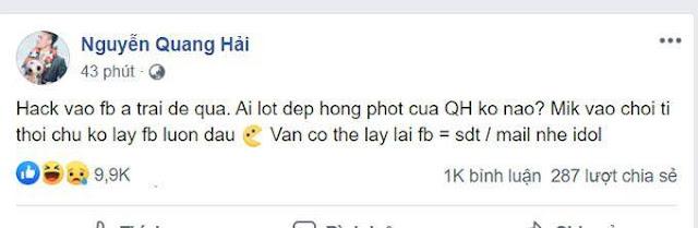 Người Hack Facebook của Quang Hải dọa tiết lộ nhiều thông tin đời tư