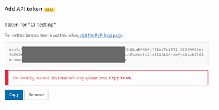 A successful API token creation: a long string that only appears once, for the user to copy