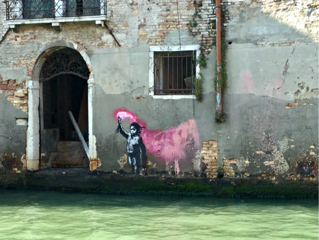 VENICE BLOG - Banksy mural in Venice, Italy - Photo: Cat Bauer