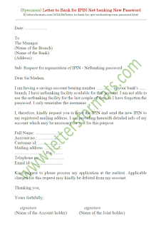 letter format to bank manager for new password