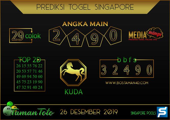 Prediksi Togel SINGAPORE TAMAN TOTO 26 DESEMBER 2019
