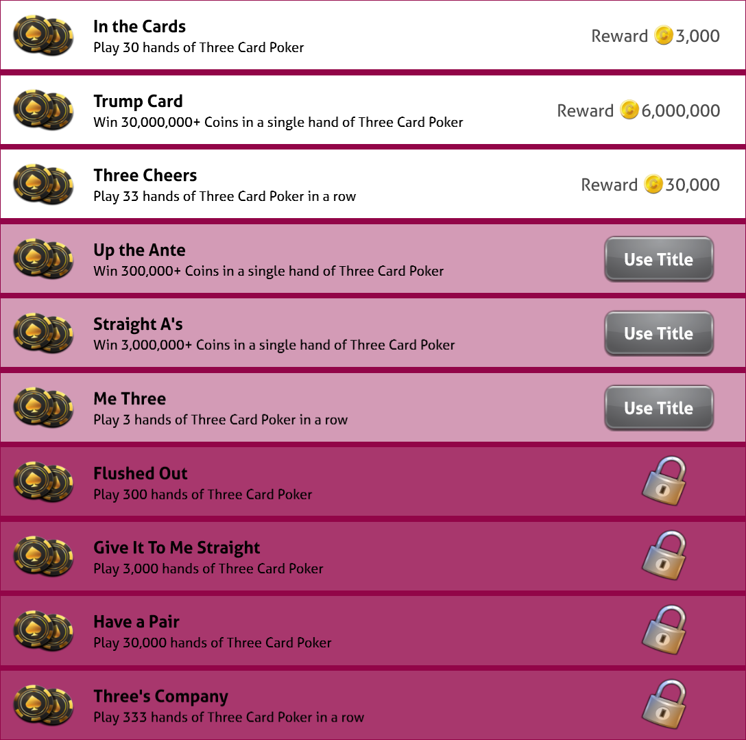Achievements of 3 Card Poker - Single Player