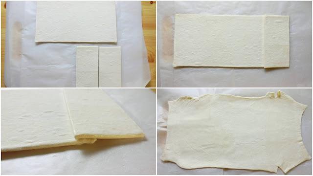 冷凍パイシートを用意し、1/2枚をさらに半分に切ります。片方は使う時まで冷凍庫で冷やしておきます。