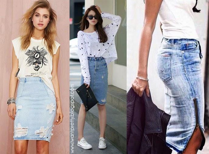 I want pretty  LOOK-¿Cómo usar una falda de mezclilla  ef1271abdc60