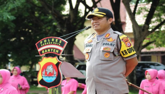 Polres Serang Kota Gelar Upacara Korps Raport Kenaikan Pangkat