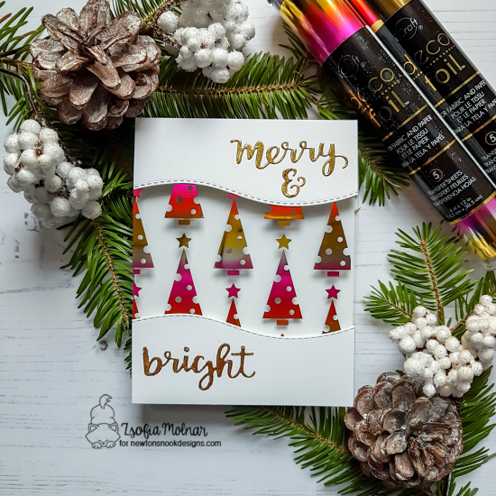 Newton's Nook Designs & Therm O Web Inspiration Week | Christmas Tree Card by Zsofia Molnar | Holiday Greetings Die Set by Newton's Nook Designs and Foils by Therm O Web #newtonsnook #thermoweb