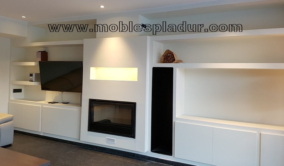 Pladur barcelona mueble pladur para chimenea for Chimenea para tv