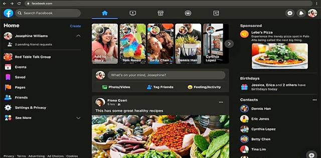 """شركة facebook تختبر الوضع الليلي علي موقع فيسبوك وقريبا سيكون متاح للجميع - تحميل فيس بوك بالوضع الليلي - تفعيل Dark mode على تطبيق فيسبوك - شاهد فيس بوك في شكلة الجديد - التحديث الاخير لموقع الشات والتواصل الاجتماعي""""Facebook"""" - تنزيل تحديث فيس بوك للاندرويد"""