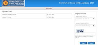 RBI Office Attendant Online Exam Marks 2021