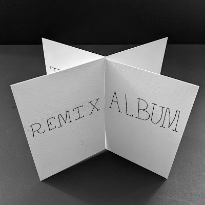 The Remix Artist's book - The pages have been interlocked perpendicularly. A light slim handwritten font reads, remix album.