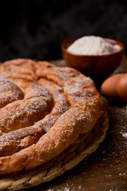 Hungarian pastry sprinkled with sugar