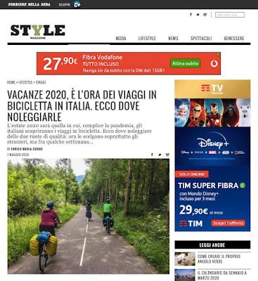style magazine italia corriere della sera cicloturismo cycling holiday vacanze in bicicletta pandemia covid-19