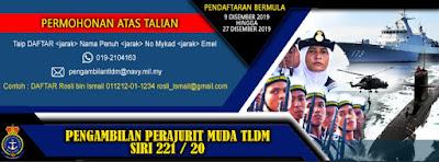 Pengambilan Perajurit Muda TLDM 2020 Lepasan SPM/ Diploma Kejuruteraan