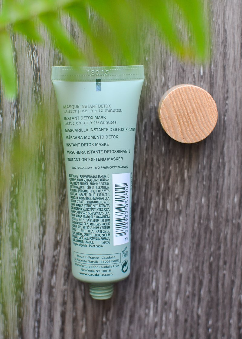 Caudalie Instant Detox face mask - ingredients