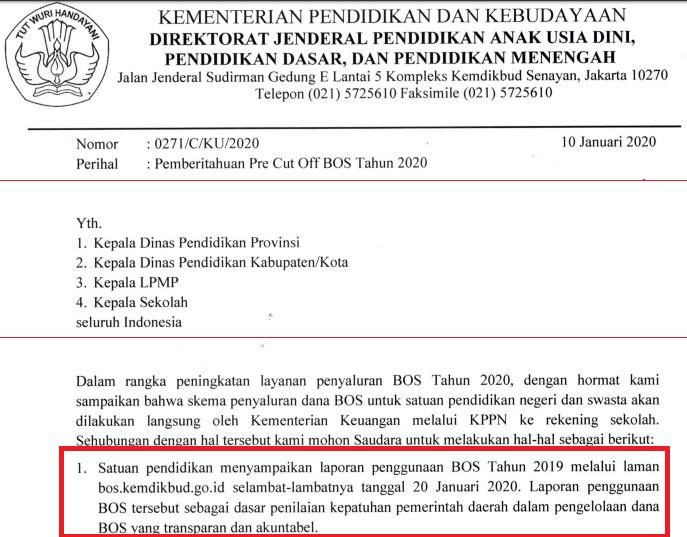 surat Pemberitahuan Pre Cut Off BOS Tahun 2020