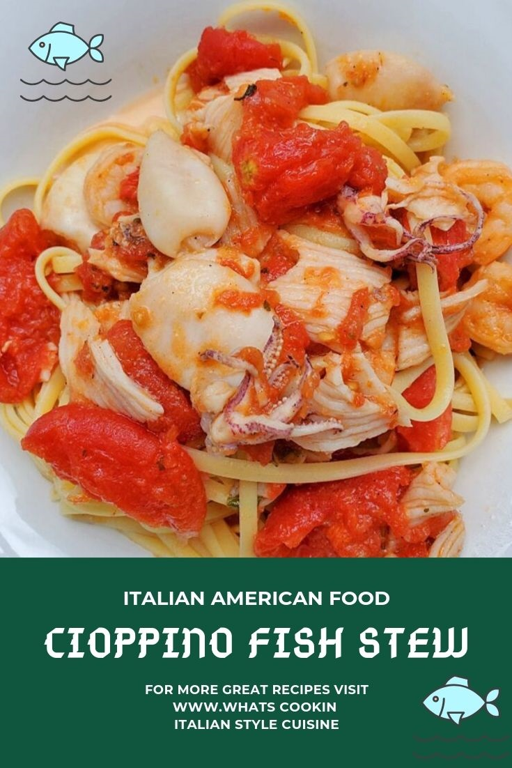 this is a pin for later fish stew called Cioppino with all fresh seafood and pasta in a white bowl