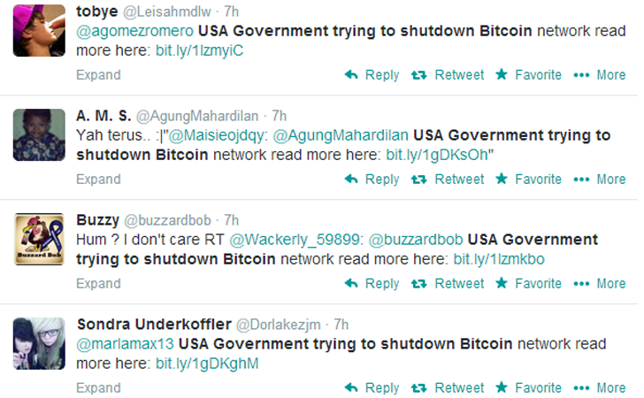 Spam Tweets 'US Government Trying to Shut Down Bitcoin' Spreading Malware