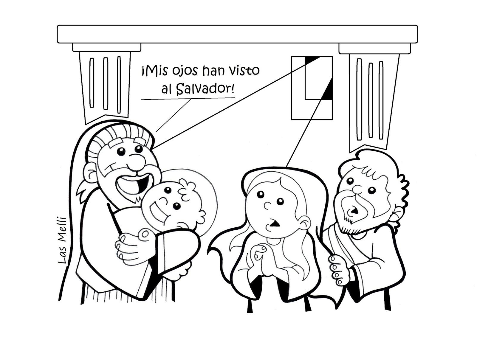 El Rincón de las Melli: DIBUJO: Presentación del Niño Jesús en el Templo