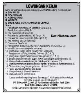 Lowongan Kerja PT. Sukanda Djaya Indonesia