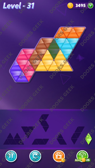 Block! Triangle Puzzle 7 Mania Level 31 Solution, Cheats, Walkthrough for Android, iPhone, iPad and iPod