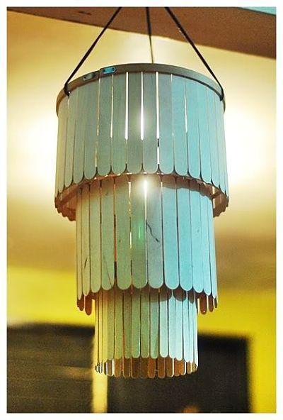 Kerajinan Tangan Dari Stik Es Krim Berupa Wadah Lilin dan Lampu Hias Gantung