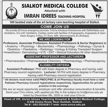Sialkot Medical College SMC Jobs 2020 Say Job City