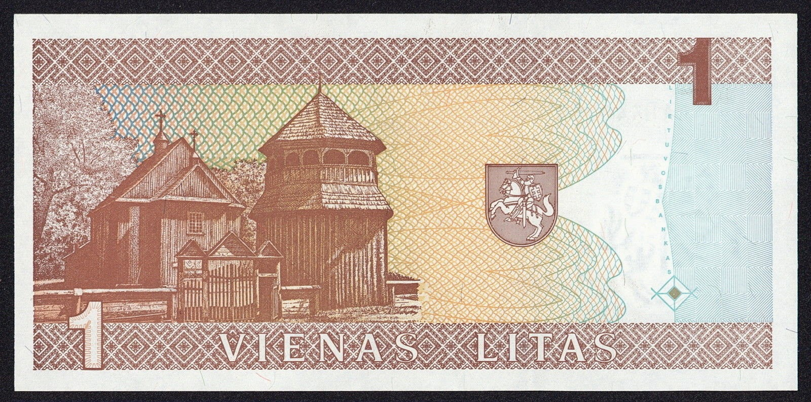 Banknotes of Lithuania 1 Litas banknote 1994 wooden church