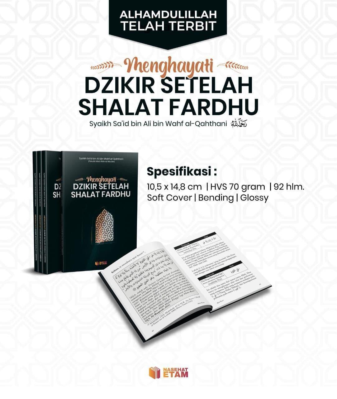 Buku Menghayati Dzikir Setelah Shalat Fardhu Nasehat Etam