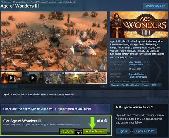 Cara klaim Age of Wonders III di Steam - Tech Hijau™