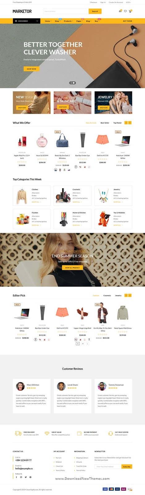 Stylish 5in1 Multipurpose Responsive Shopify Theme