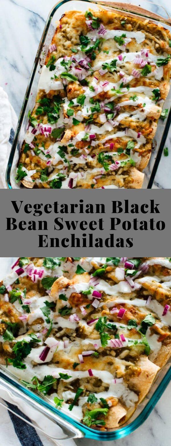 Vegetarian Black Bean Sweet Potato Enchiladas #vegetarian #entree