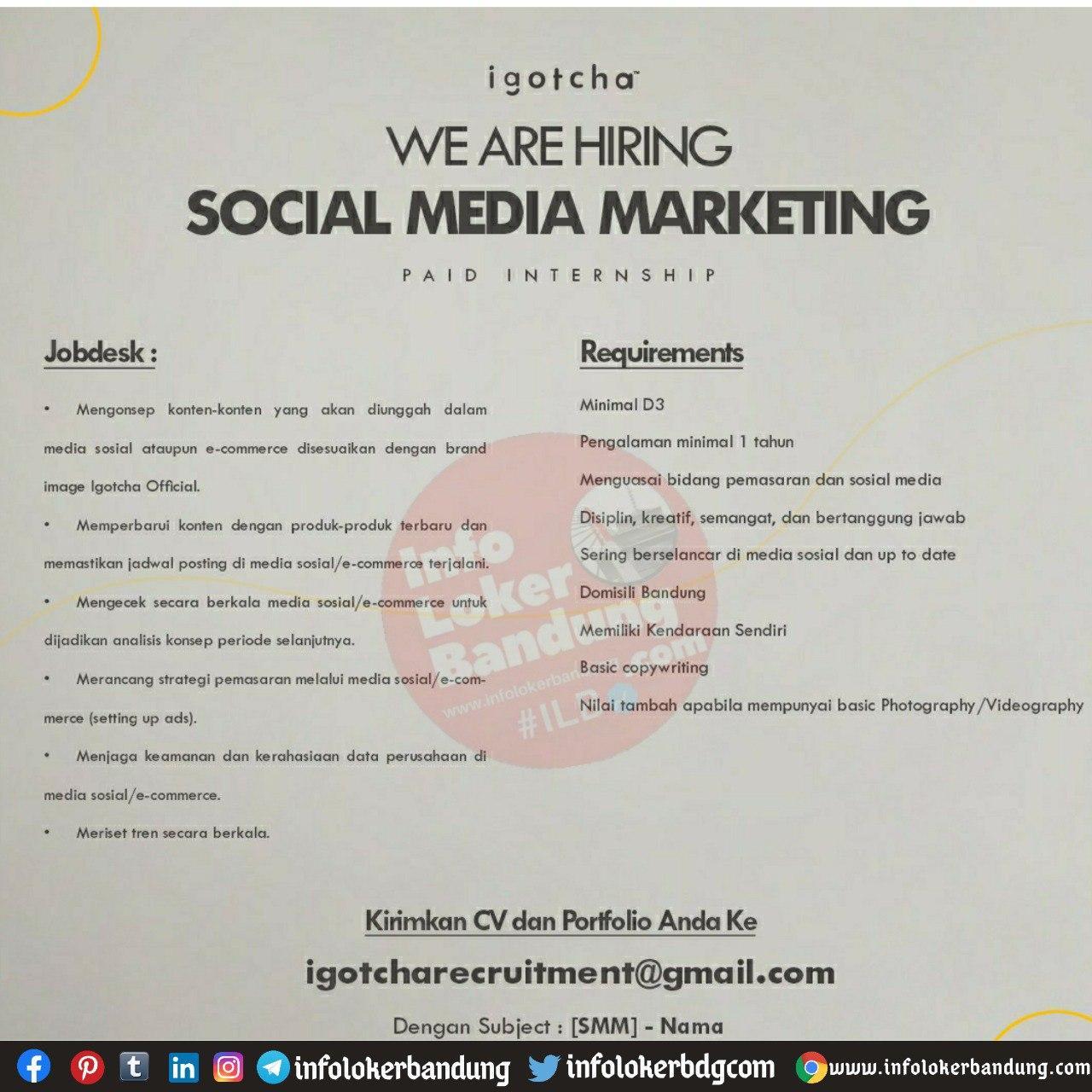 Lowongan Kerja Social Media Marketing ( Paid Internship ) Igiotcha Bandung Oktober 2020