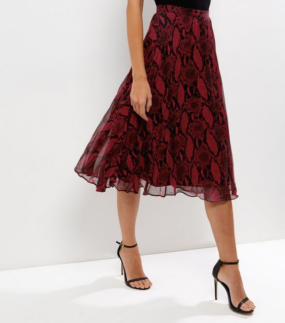 New Look Red Snakeskin Print Layered Pleated Midi Skirt