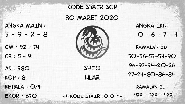 Bocoran Togel Singapura Senin 30 Maret 2020 - Kode Syair SGP