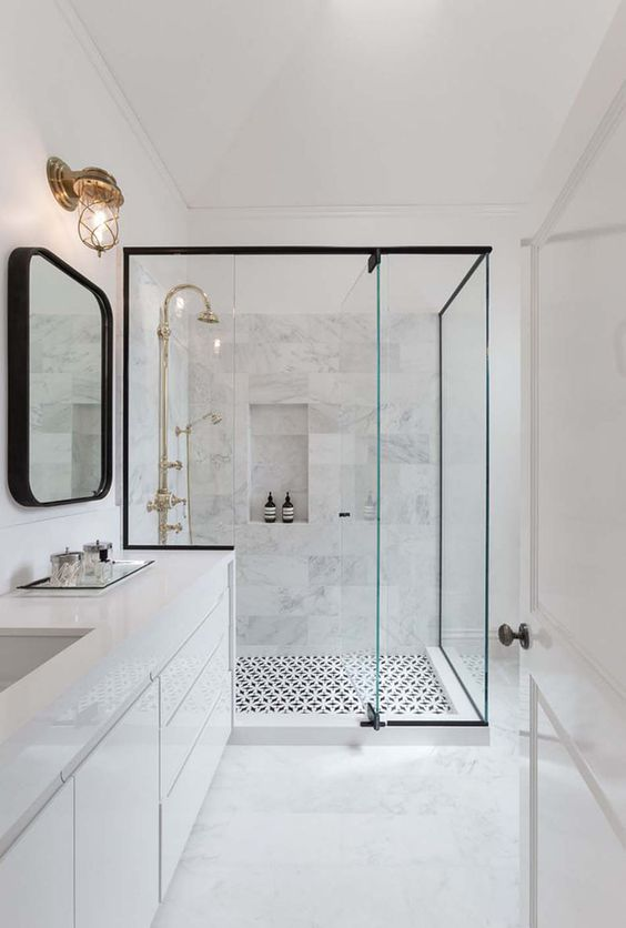 Bathroom Design Idea – Black Shower Frames