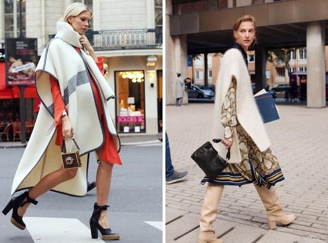 Модные образы с пончо и платьем