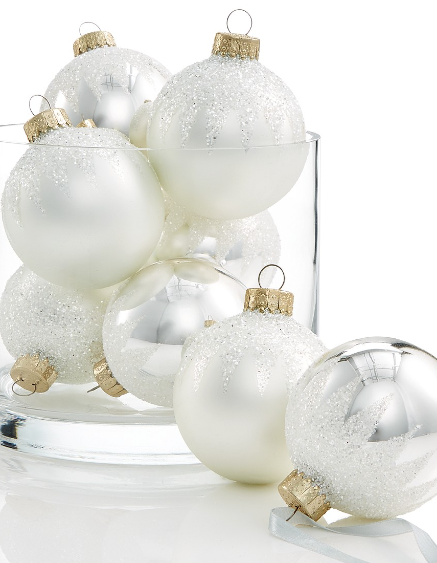 Holiday Lane Glass Icy White & Silver Ball Ornaments, Set of 8