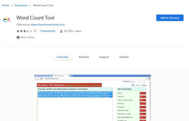 Word Count Tool Chrome Extension