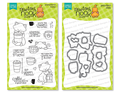 Newton Loves Coffee Stamp Set and coordinating Die Set by Newton's Nook Designs