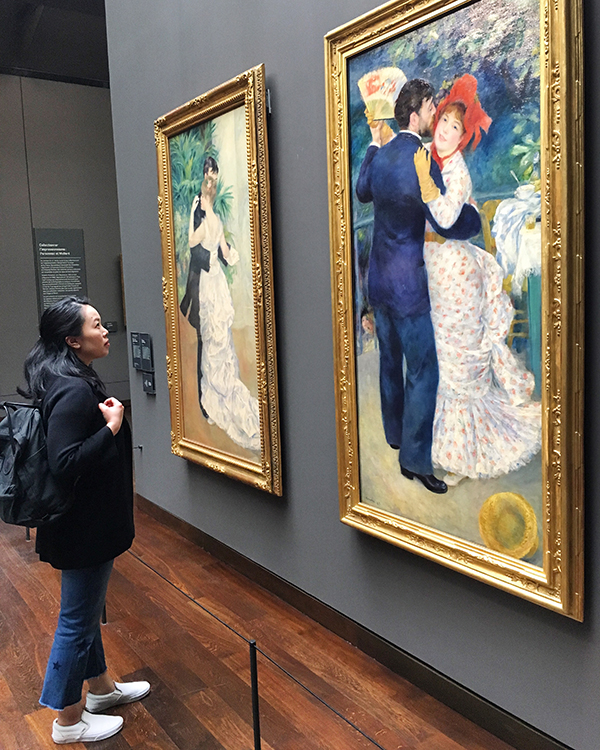 Looking at Renoir painting at Musee d'Orsay