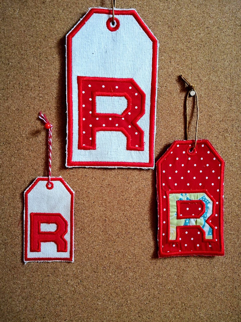 Machine embroidery gift tags