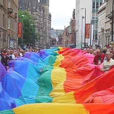 Rainbow flag in the streei
