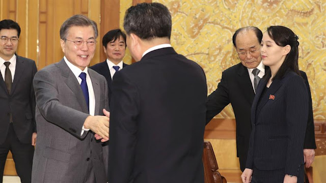 president-of-north-korea-shaking-hands-with-delegation-of-south-korea-sister-of-kim-jong-un