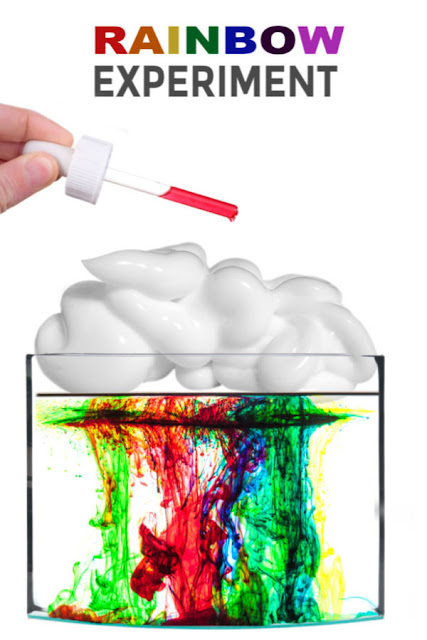 Wow the kids and make rainbow rain!  This fun experiment teaches about rain clouds and how they form.  It makes a great science fair project or rainy day activity. #rainexperimentsforkids #rainbowexperiment #rainbowrain #raincloudinajar #raincloudexperiment #sciencefairprojects #scienceexperimentskids #rainbowexperimentsforpreschool