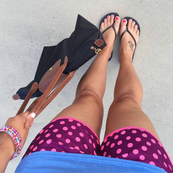 polka dot shorts, longchamp tote